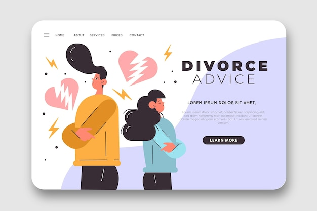 Landing page for divorce advice