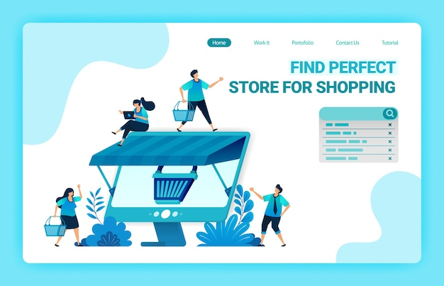 Landing page of e-commerce online with a shopping cart metaphor and monitor with a roof. wholesale and retail online stores.
