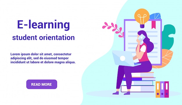Landing page for e-learning with woman communicates online. advertising image for site.