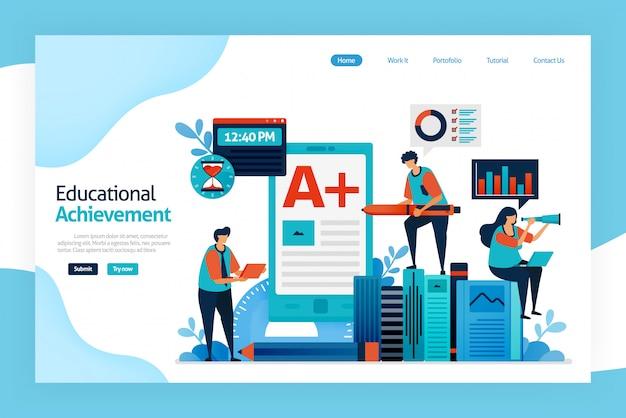 Landing page of educational achievement
