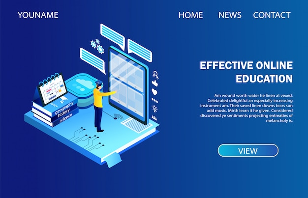 Landing page. effective online education, distance learning