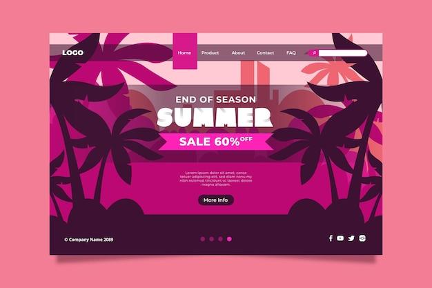 Modello di vendita estiva di fine stagione della pagina di destinazione