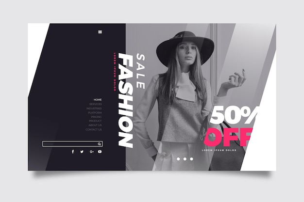 Landing page fashion sale with model