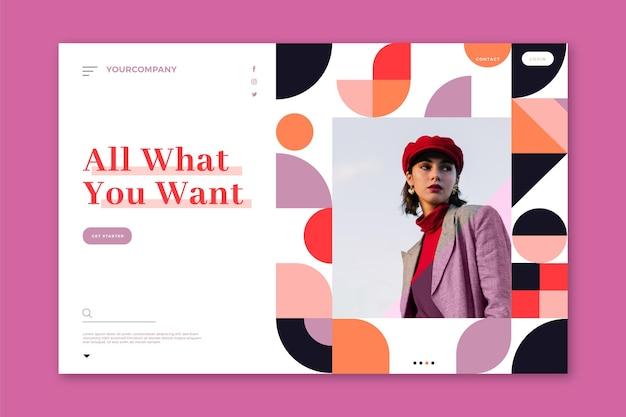 Pagina di destinazione per le vendite di moda