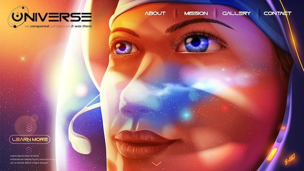 Landing page of a female astronaut is looking further away with determination