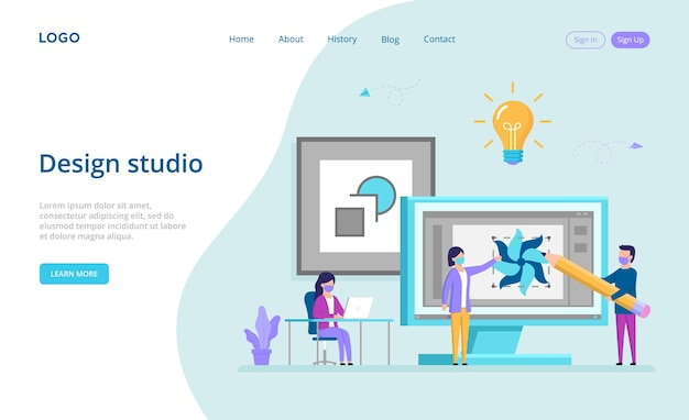 Landing page in flat style with writings and buttons