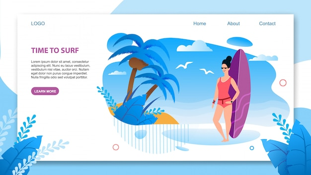 Landing page in flat tropical style offering surfing.