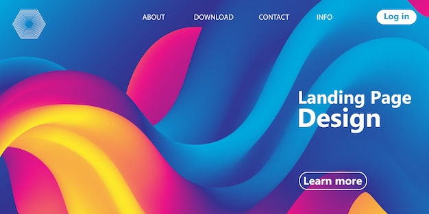 Landing page. flow shape. fluid background. vector