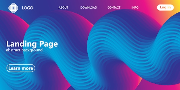 Landing page. flow shape. fluid background.