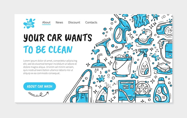 Landing page or flyer for the car wash and auto detaling in the doodle style