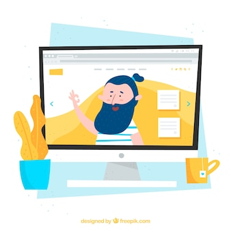 Landing page for a website in cute style