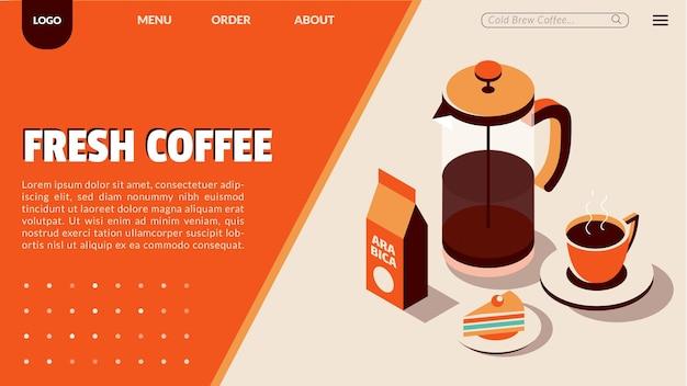 아이소메트릭 스타일의 커피숍 방문 페이지