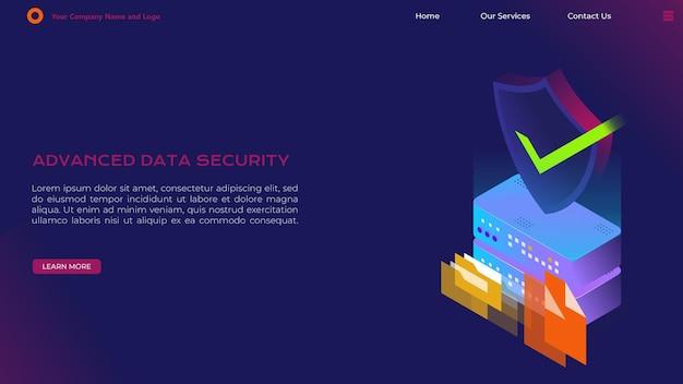 데이터 보안 랜딩 페이지 프리미엄 벡터
