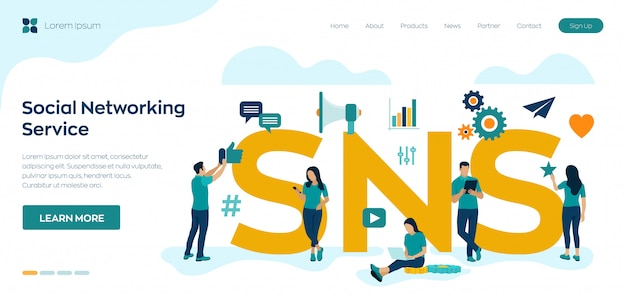 Snsのランディングページ。文字とソーシャルネットワーキングサービスのコンセプト。