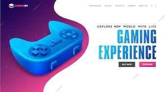 Landing page for virtual gaming concept.