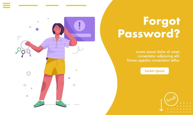 Landing page of forgot password concept