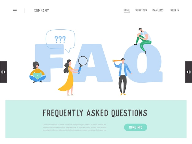 Landing page of frequently asked questions concept. question answer metaphor.  background. flat cartoon character people graphic design. template banner, flyer, poster, web page