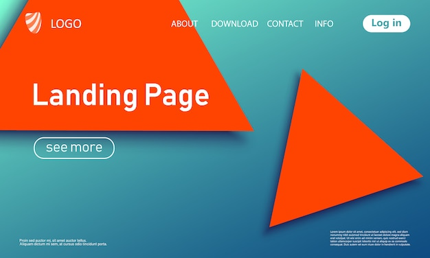Landing page. geometric background. .