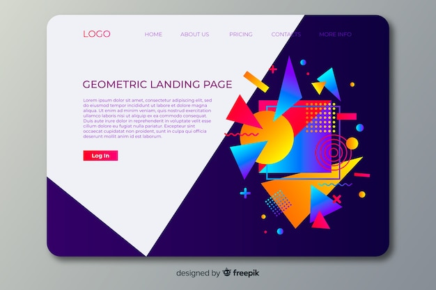 Landing page geometric shapes
