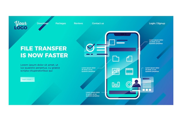 Landing page geometric template with smartphone