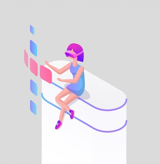 Landing page girl in glasses for virtual reality