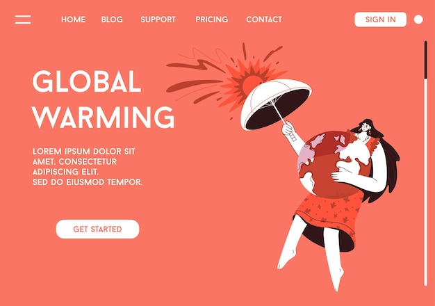 Landing page of global warming concept