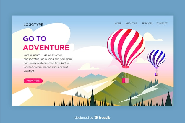 Landing page go to adventure