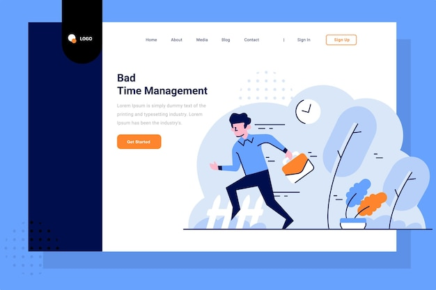 Landing page go to work late worker bad time management employee flat and outline illustration