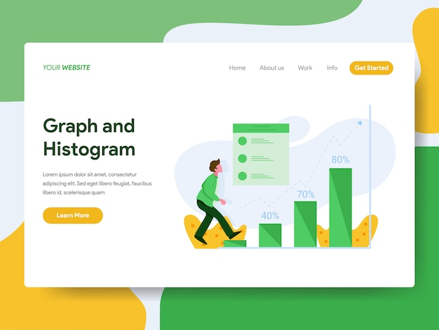 Landing page. graph and histogram illustration concept