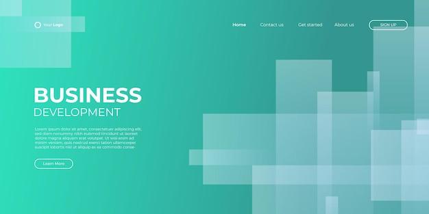 방문 페이지 녹색 배너 템플릿입니다. 추상적인 배경 3d 그림, 비즈니스 기술 인터페이스 개념입니다. 벡터 레이아웃 디자인입니다.