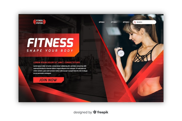Landing page gym promotion with image