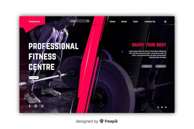 Landing page gym promotion with photo