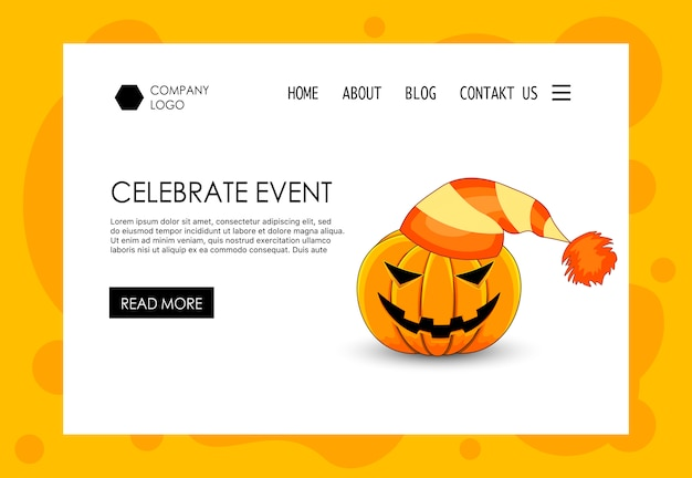 Landing page for halloween theme website. cartoon style. vector.