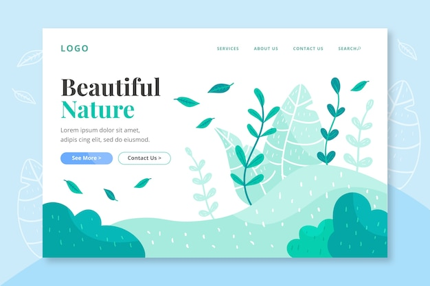 Landing page hand-drawn nature