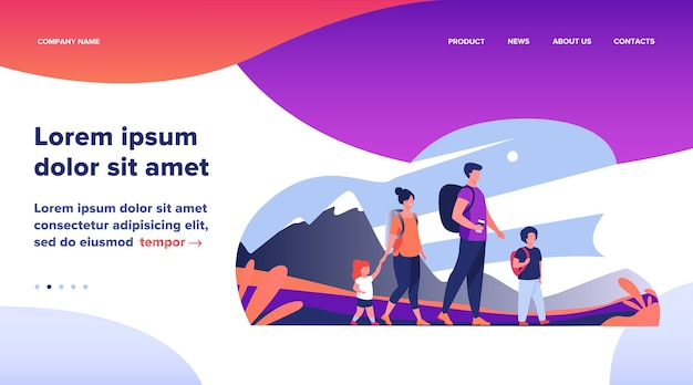 Landing page, happy active family walking outdoors. couple of tourists with children hiking, carrying camping backpacks. vector illustration for holiday, mountain trekking, activity, lifestyle concept