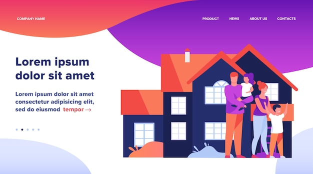 Landing page, happy family standing together in front of house flat vector illustration. cartoon people posing for picture outside. happiness and love concept.