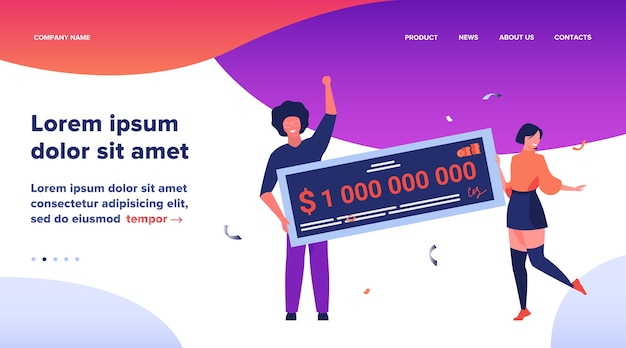 Landing page, happy girl and guy winning billion of cash, getting money prize, holding bank check. flat vector illustration for grant, lottery winner, jackpot concept