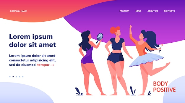 Landing page, happy girls admiring their bodies flat vector illustration. body positive female characters smiling each other. active women with plus size figures. different beauty, fashion and healthy lifestyle
