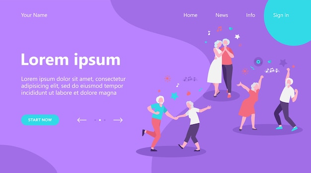 Landing page, happy old people dancing isolated flat vector illustration. cartoon senior grandfathers and grandmothers having fun at party. music and dancing club concept