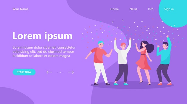 Landing page, happy people dancing at party together flat vector illustration. cartoon excited friends or coworkers celebrating with confetti. achievement and celebration concept