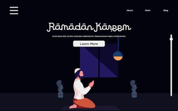 Landing page.  happy ramadan mubarak concept with people character
