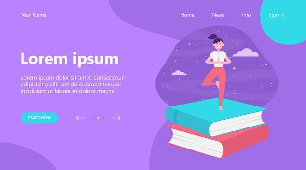 Целевая страница, счастливый студент девушка занимается йогой. стек книг, ночное небо, дерево представляют плоские векторные иллюстрации. медитация, релаксация, концепция баланса