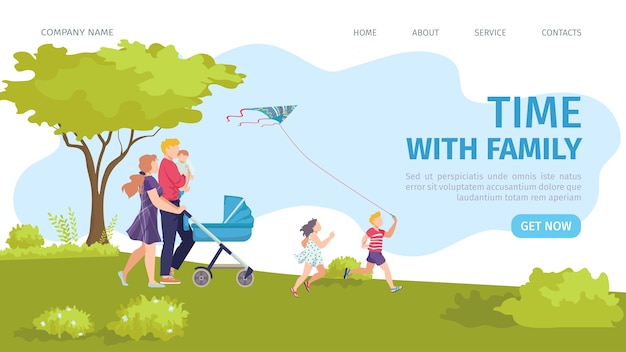 Landing page happy time with family . parents and diverse children jogging together in green summer park. active and healthy recreation for family. happy childhood website.