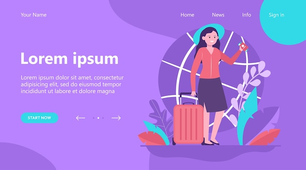 Landing page, happy woman travelling to other country. ticket, bag, journey flat vector illustration. trip and vacation concept