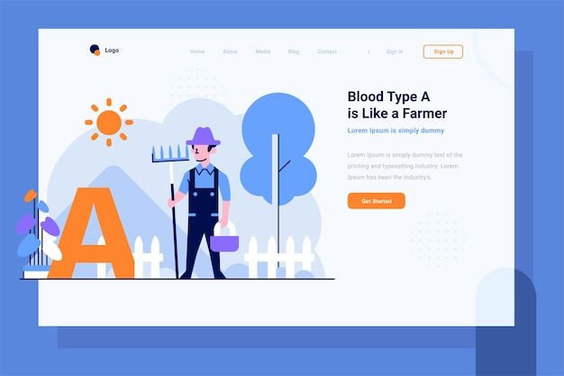 Landing page health medical blood type a farmer man do farming flat and outline design style