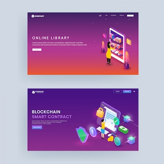 Landing page or hero shot design for online library, block chain smart contract concept.