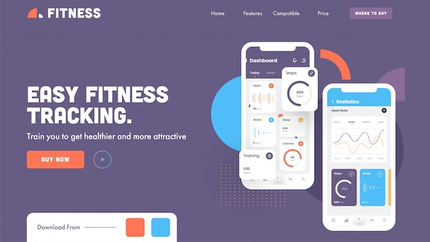 Landing page or hero shot image with easy fitness tracking app in smartphone on purple .