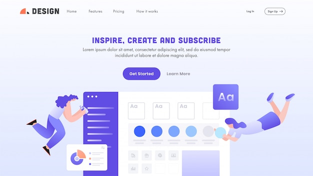 Landing page or hero shot with women maintain the website for inspire, create and subscribe.