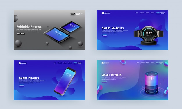 Landing page or hero shots set with gadgets like as smartphone, voice assistant, tablets, and smart watch on abstract