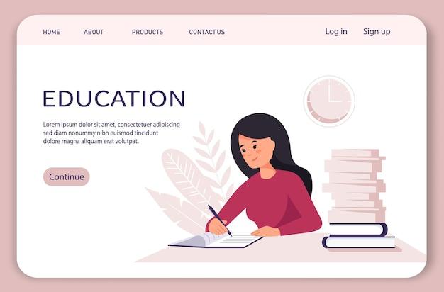 Целевая страница концепции домашнего офиса женщина, работающая от домашнего студента